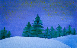 Starry and quiet winter night watercolor. Watercolor landscape of quiet winter night with stars stock illustration