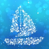 Starry sailing boat on blue Stock Photography