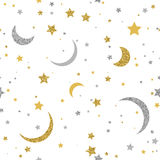 Starry seamless background with gold and silver dots Royalty Free Stock Photography