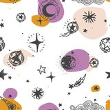 Starry seamless pattern, sketch planets, comets and stars Royalty Free Stock Photos