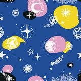 Starry seamless pattern, sketch planets, comets and stars Stock Photo