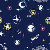 Starry seamless pattern, sketch planets, comets and stars Royalty Free Stock Photography