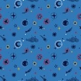 Starry seamless pattern, sketch planets, comets and stars Stock Images