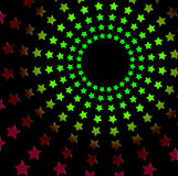 Starry seventies retro radiating design - vivid over black Royalty Free Stock Photography