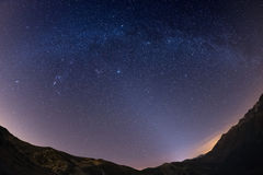 The starry sky above the Alps, 180 degree fisheye view Stock Photos