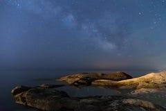 Starry sky above the beach Stock Photo