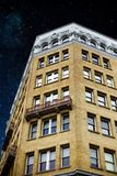 Starry sky above building royalty free stock images