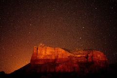 Starry sky above canyon