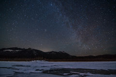 Starry sky above the ice. Royalty Free Stock Photography