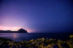 The starry sky above rocky dolomite Royalty Free Stock Photography