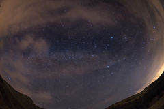 The starry sky from the Alps, viewed by fisheye lens Royalty Free Stock Image