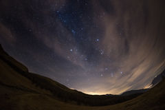 The starry sky from the Alps, viewed by fisheye lens Royalty Free Stock Photos