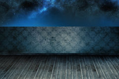 Starry sky beyond balcony Stock Photo