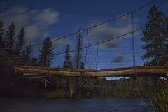 Starry sky. Bridge reaches across the Shoshone river Royalty Free Stock Photography