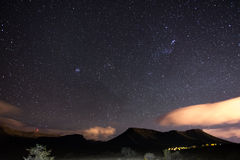 The starry sky captured Karoo National Park, South Africa, in winter. The Pleiades star cluster, Orion and Taurus Constellation cl. Early visible Stock Images