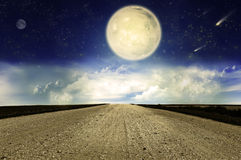 Starry sky and country road Stock Photography