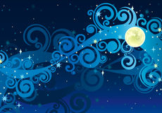 Starry sky för natt med den gula moonen Royaltyfri Bild