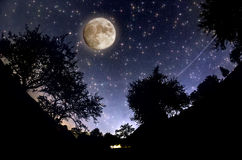 Starry Sky. And full moon royalty free stock photography