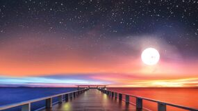 Free Starry Sky Full Moon Bridge  At Unset At Sea  Sunbeam Reflection On Water  ,cloudy  Fluffy Colored Sky Nature Summer  Landscape Stock Images - 204331934