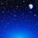 Starry Sky illustration with Moon. Vector illustration of a night sky, with the moon and a lot of stars Royalty Free Stock Photography
