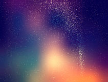 Starry sky illustration, stars and milky way on colored night sky with clusters of stars Stock Images