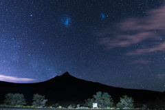 The starry sky and magellanic clouds captured Karoo National Park, South Africa, in winter. Royalty Free Stock Photography