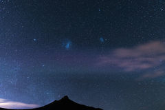 The starry sky and magellanic clouds captured Karoo National Park, South Africa, in winter. royalty free stock photos