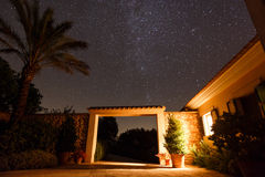 Starry sky in Mallorca. Entrance to the Spanish courtyard house under starry night sky, Mallorca Stock Photography