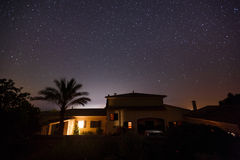 Starry sky in Mallorca. Starry sky over the spanish house in Mallorca Royalty Free Stock Image