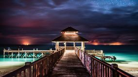 Starry sky in Mantanani. Starry sky and trestle in Mantanani in Sabah malaysia Stock Images