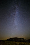 Starry sky and Milky Way  above the lighted lanterns city. Royalty Free Stock Photos