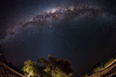 Starry sky and Milky Way arc, with details of its bright colorful core, captured with fisheye lens from the Namib desert in royalty free stock photos
