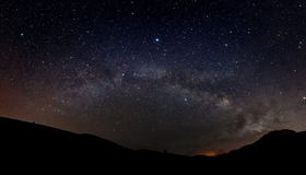 Starry sky with Milky way. And silhouette of mountains Royalty Free Stock Photos
