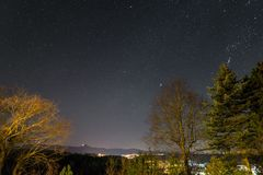 Starry sky with milky way in the summer, Baden-Württemberg, Germany.  Stock Photo