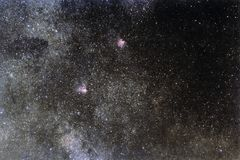 Starry sky with millions of stars, Milky Way galaxy, Eagle nebula, Omega nebula royalty free stock photography