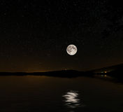 Starry sky, and moon Bay Stock Photo