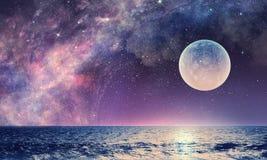 Starry sky and moon. Mixed media Royalty Free Stock Photo