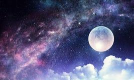 Starry sky and moon. Mixed media Stock Image