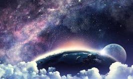 Starry sky and moon. Mixed media Royalty Free Stock Photos