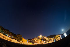 Starry sky and moonlight, Cervo, Ligurian Riviera, Italy, fisheye view Stock Images