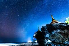 Starry sky. In Ngwe Saung Beach,Myanmar.Photo taken in Dec 2014 royalty free stock images