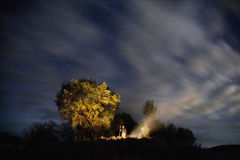 Starry sky, night photography, astrophotography, trees Royalty Free Stock Images
