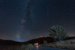 Starry sky and night travel Stock Image