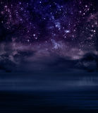 Starry sky in the open sea Stock Image