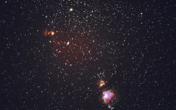 Starry sky and Orion Nebula stock photo