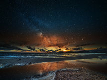 Starry sky over Alghero at night Stock Images
