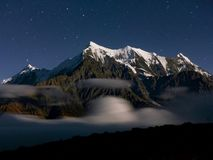 Starry sky over the Himalaya. Mount Nilgiri - Starry night on Annapurna Circuit trek in Nepal