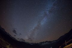 Starry sky over Machhapuchre Royalty Free Stock Photography