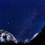 Starry sky over mountains of the Caucasus, Dombay Stock Photo