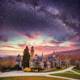 Starry sky over the old ancient castle Royalty Free Stock Image